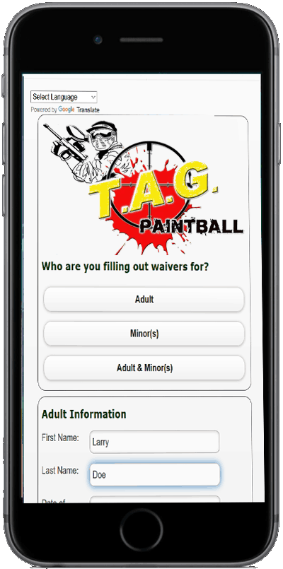 online waivers for TAG Paintball